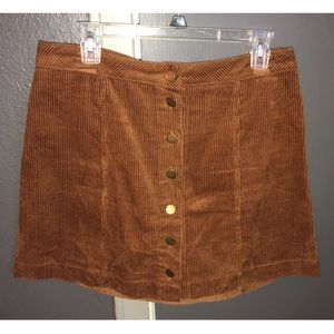 Brown Button Up Mini Pencil Skirt